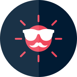 Sun icon with sunglasses and a mustache