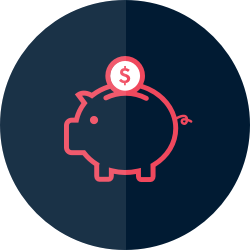 Icon: Piggy bank with coin