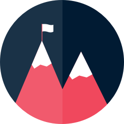 Icon: Mountain with flag at the summit