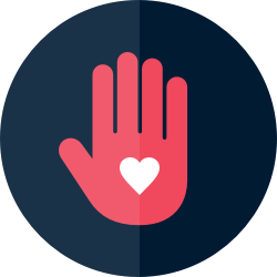 Icon: Hand with heart on the palm