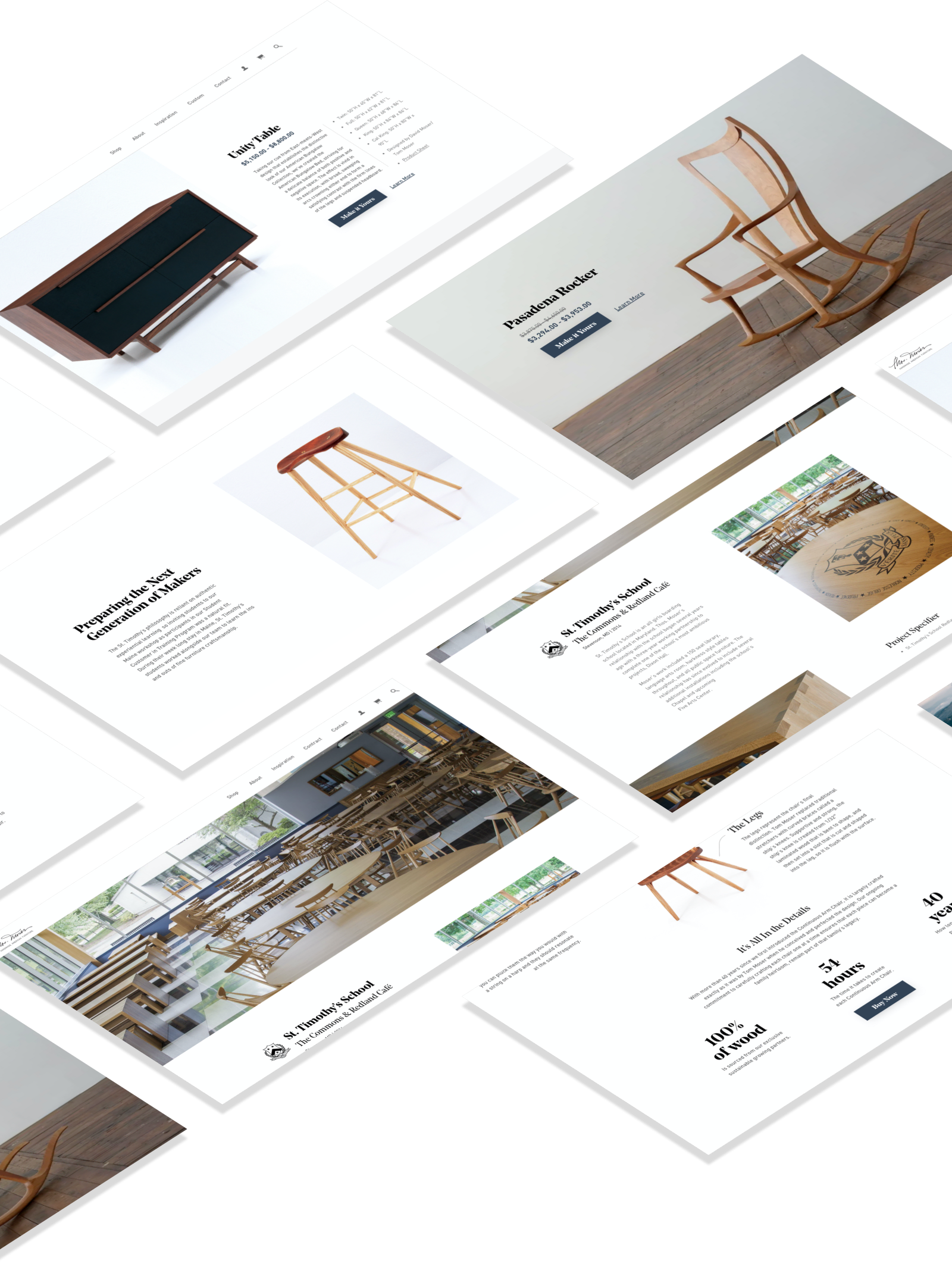 3D grid of Thos Moser website design screenshots featuring the product page and contract page.