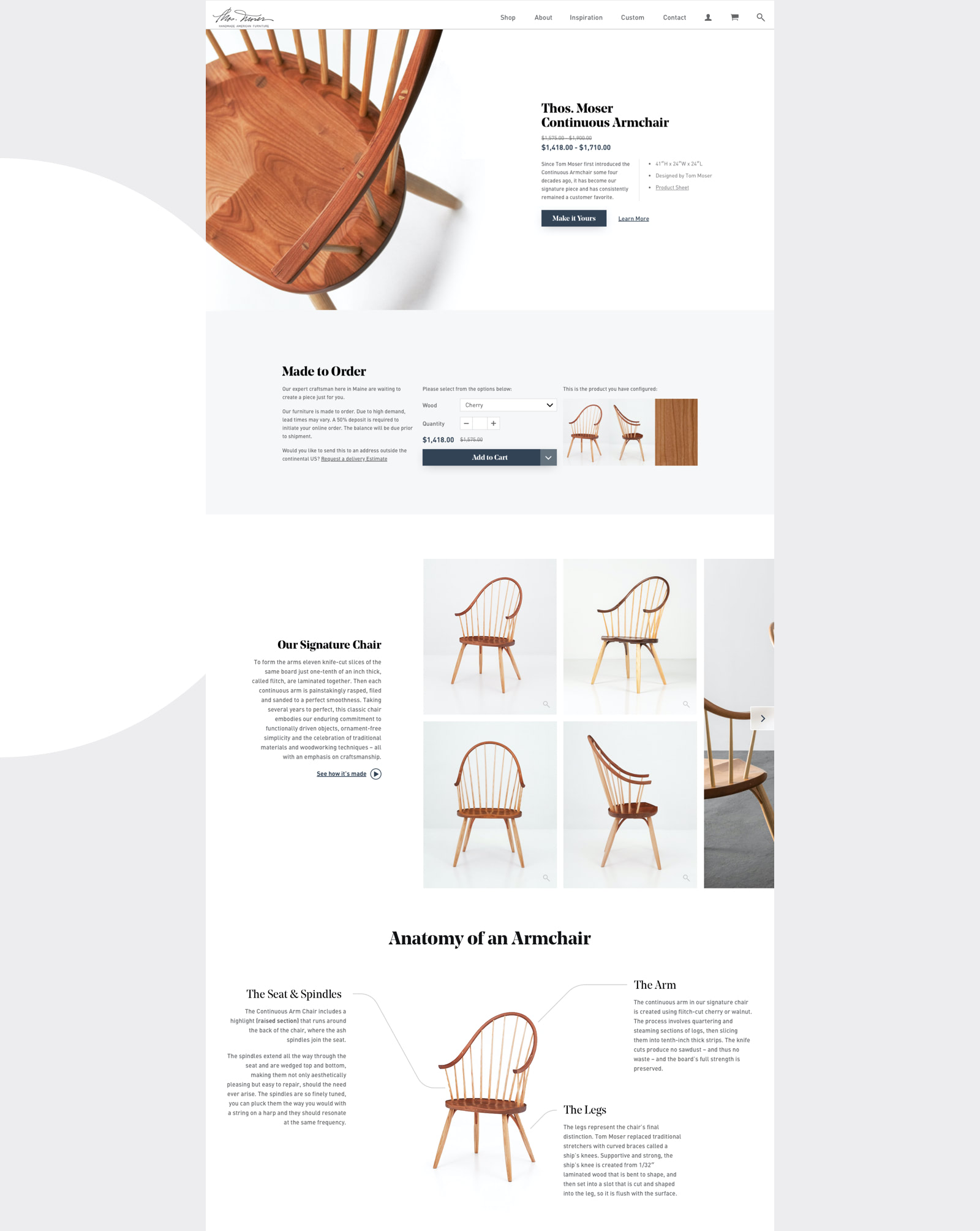 Thos Moser website product page design featuring the Continuous Armchair, backstory of how it was made and the anatomy of its construction.