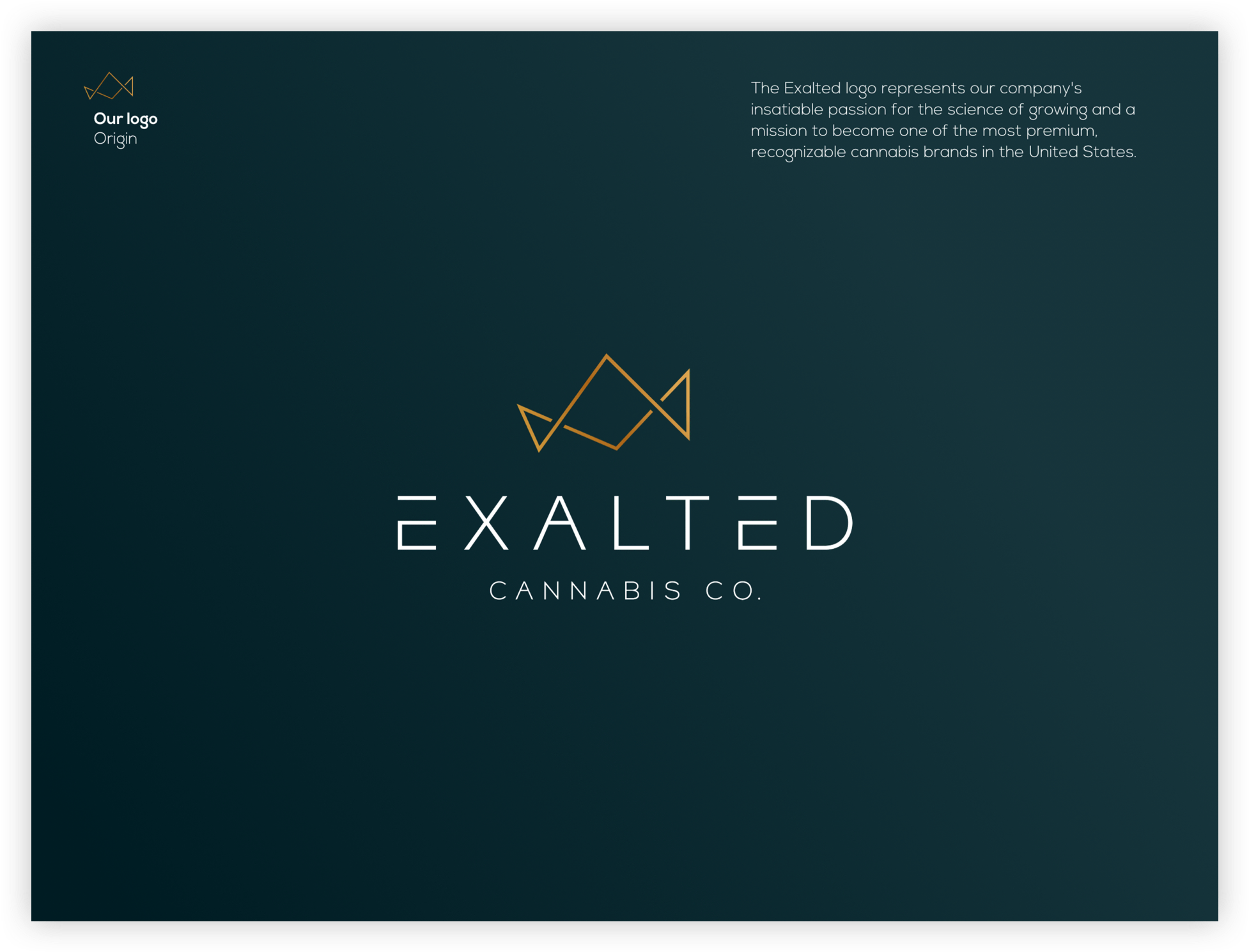 Exalted brand guide front cover. Text reads: Our logo – Origin – The Exalted logo represents our company's insatiable passion for the science of growing and a mission to become one of the most premium, recognizable cannabis brands in the United States.