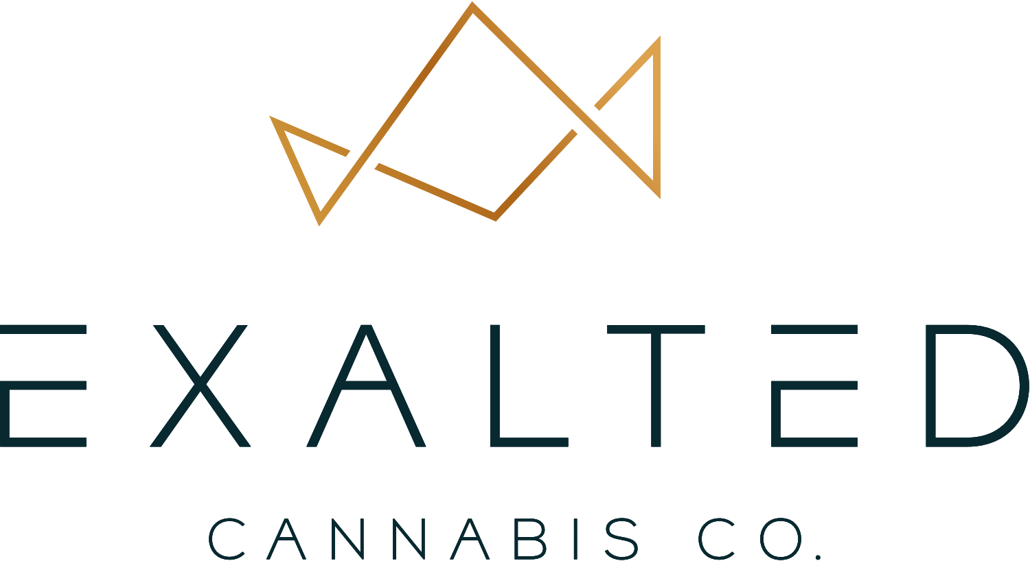 Exalted logo with a minimal, geometric gold crown outline that sits above large uppercase type that reads Exalted. Under Exalted, the type reads Cannabis Co. in uppercase letters in a thinner weight.