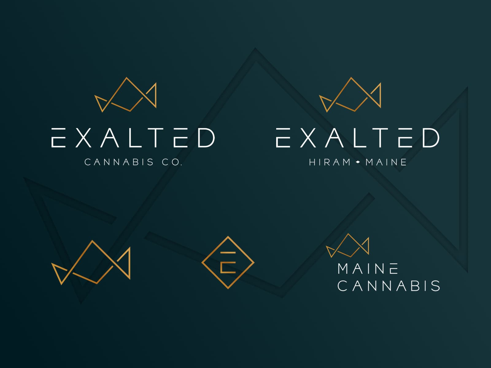 Exalted logo suite including the main logo that reads Exalted Cannabis Co., secondary logo that reads Exalted Hiram Maine, and three different logo marks