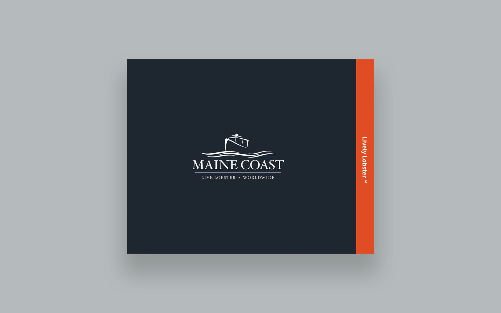 Maine Coast trifold brochure cover design with their logo in the middle and a cutaway on the side with the 'Lively Lobster' trademark