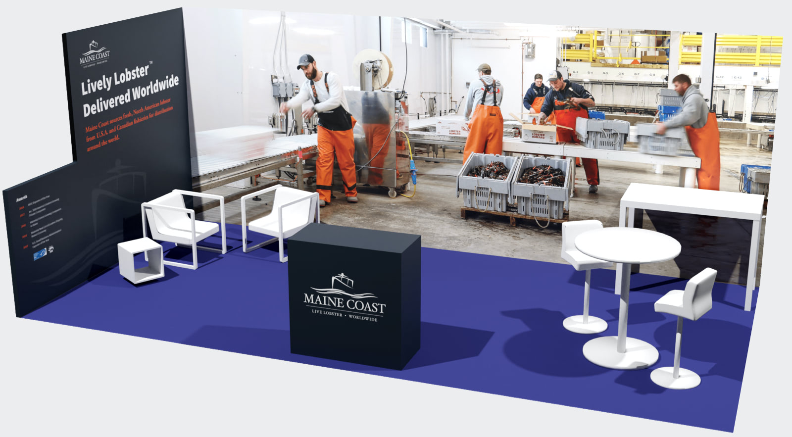 Digital 3D model of the Maine Coast trade show booth design with a vibrant full-size photograph of their packing facility on the back panel, Maine Coast's mission and awards on the side panel, and a branded podium and modern furniture arranged within the booth.