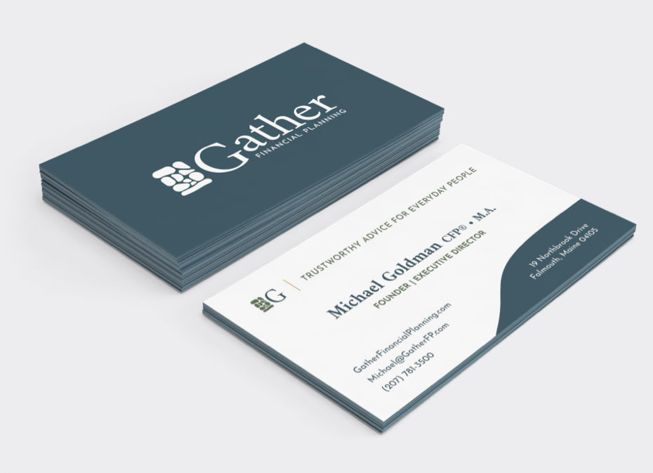 Gather Financial™ Planning business card mockup with the logo on the front in white on a dark background and contact information on the back with dark text on a light background