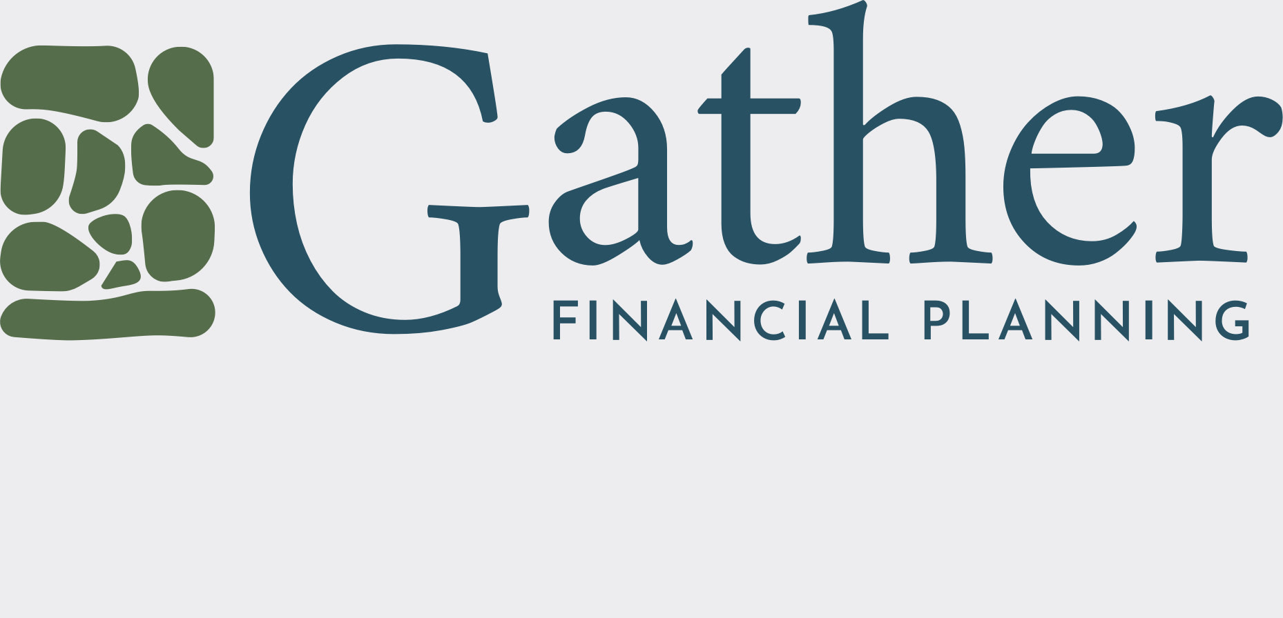 Gather Financial™ Planning logo with a flat logo mark comprised of assembled stones, followed by the text 'Gather' in large serif type, 'Financial Planning' in small sans-serif type.