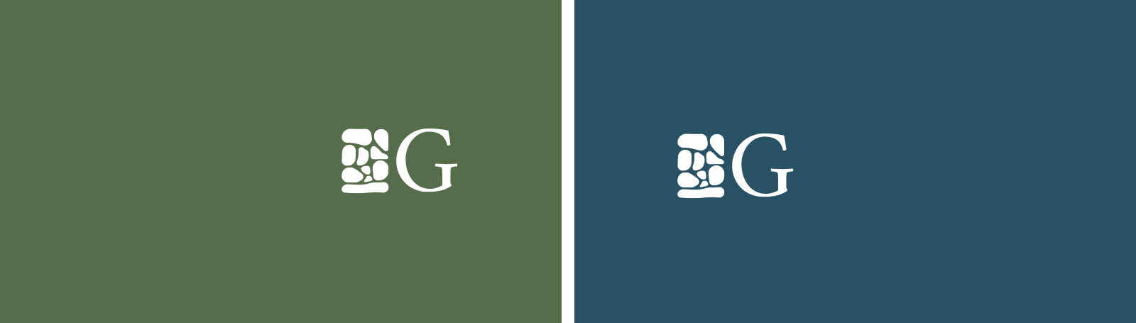 Gather Financial™ Planning logo submarks with the stone logo mark and letter 'G' in white on a dark background