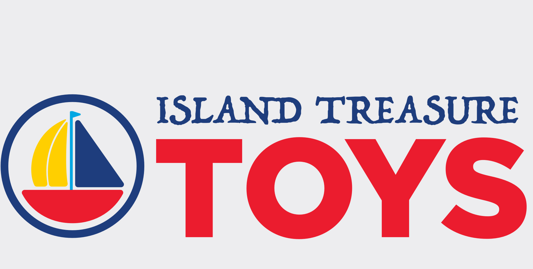 Island Treasure Toys logo with a logo mark of a colorful sailboat within a circle next to the type with 'Island Treasure' in a handwritten pirate-themed font in small text above the large text 'Toys'.
