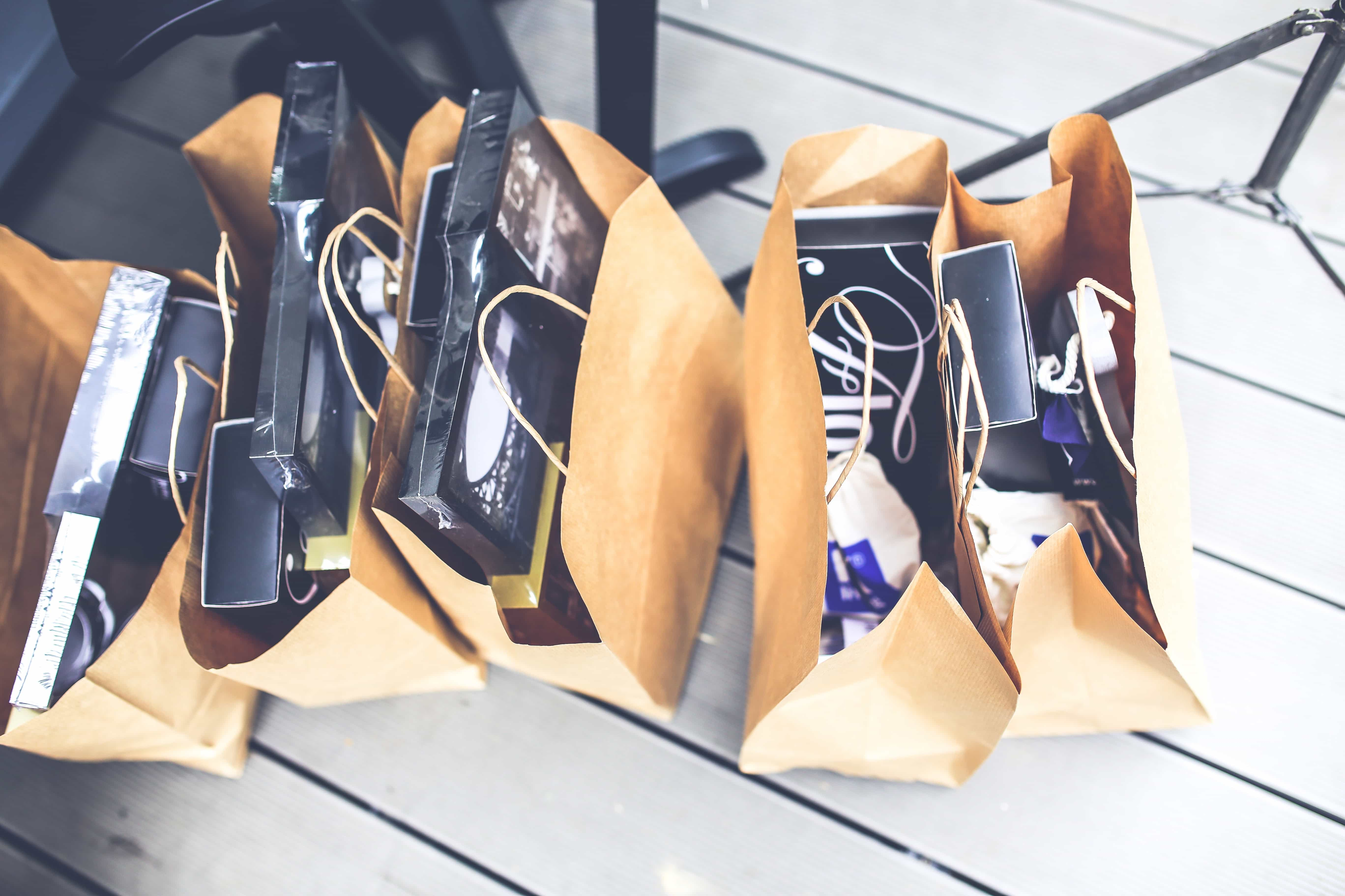 Shopping bags filled with items