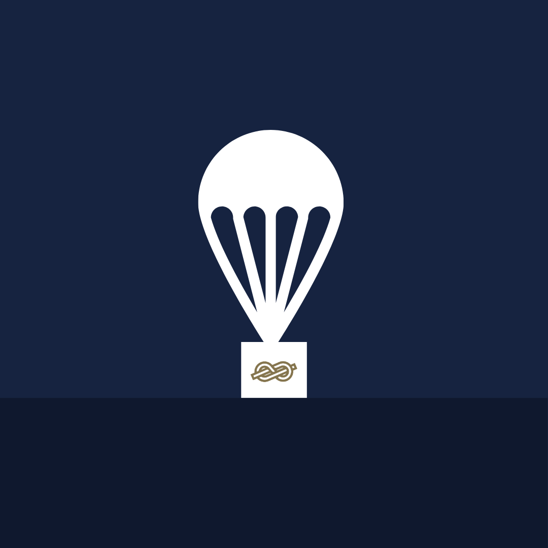 Illustration of parachute dropping off a package from iBec