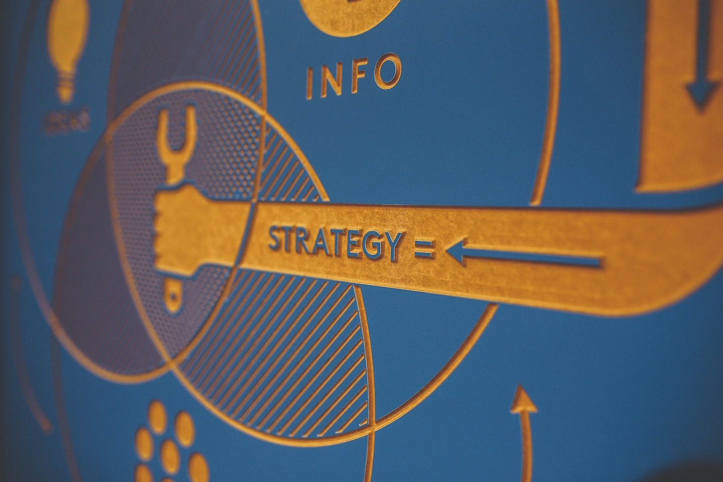 Strategy diagram of flowing arrows and business themed icons