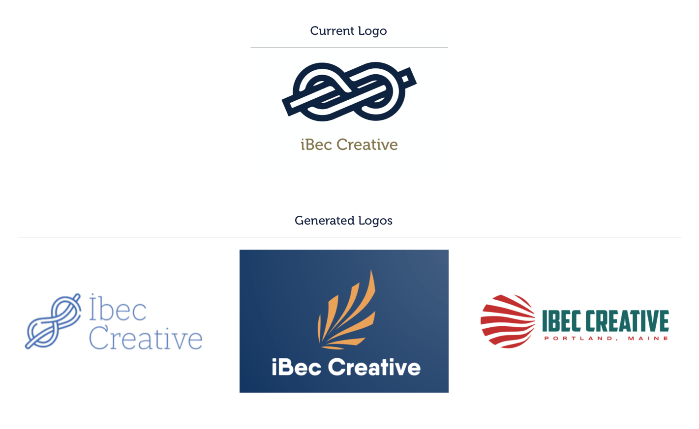 The current iBec logo above three, different generated logos. The first has blue figure eight knot, the second sits on a navy background with an abstract leaf shape, and the third is red and teal with a circle of abstract waves.