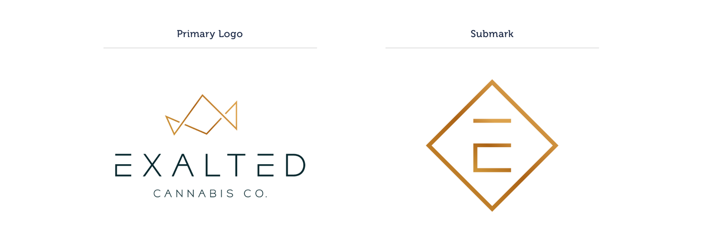 A graphic comparing two logo variations, one a full version known as the primary logo, with a gold crown shape over the words Exalted Cannabis Co. The second, a submark, is a gold diamond with the letter E in the center.