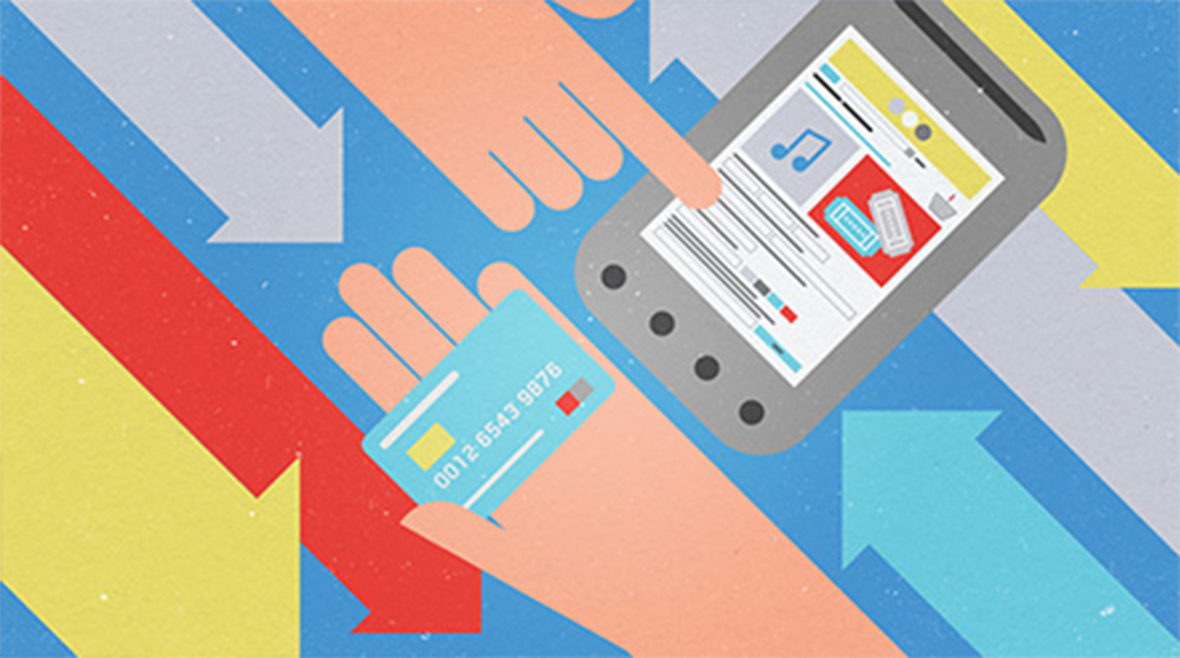 Illustration of ads on a mobile device and a hand holding a credit card with arrows moving diagonally in the background in both directions