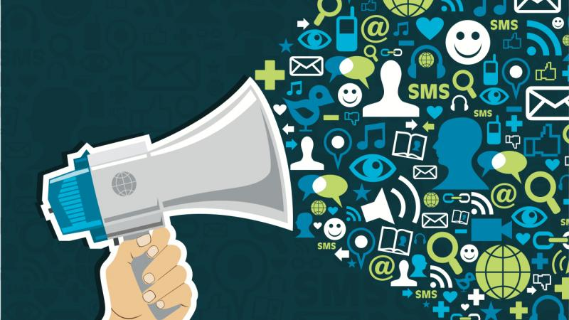 Social media illustration with various social icons coming out of a megaphone